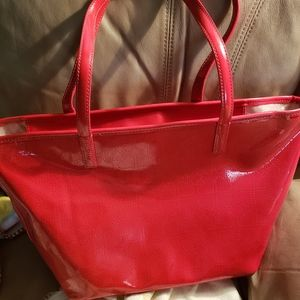 Kate Spade red vinyl tote bag